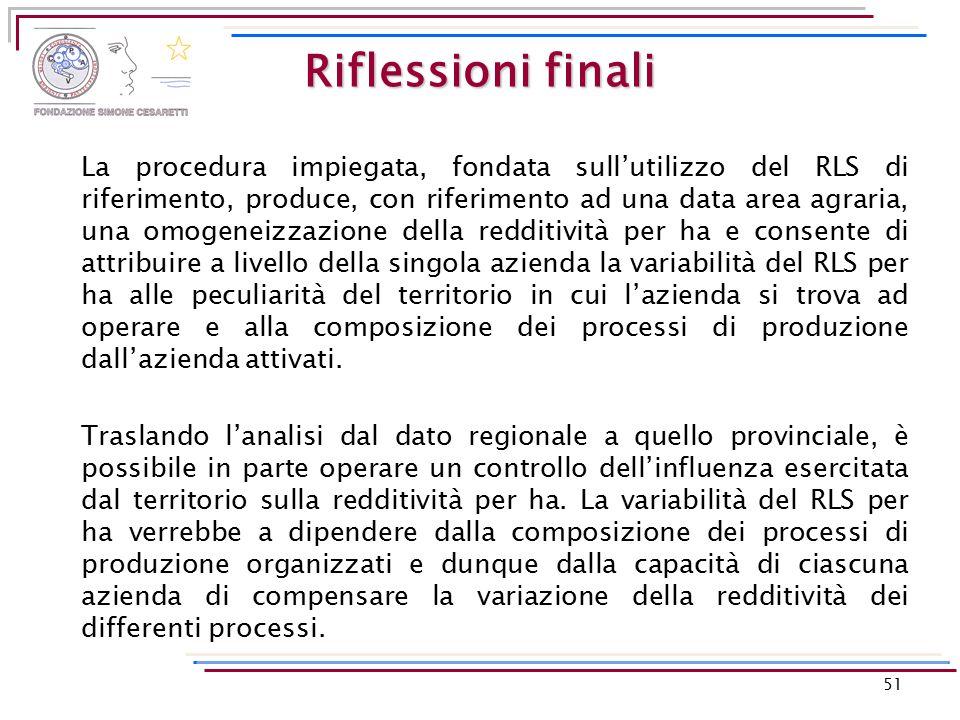 Riflessioni finali La procedura impiegata, fondata sull'utilizzo del RLS di riferimento, produce, con riferimento ad una data area agraria, una omogen