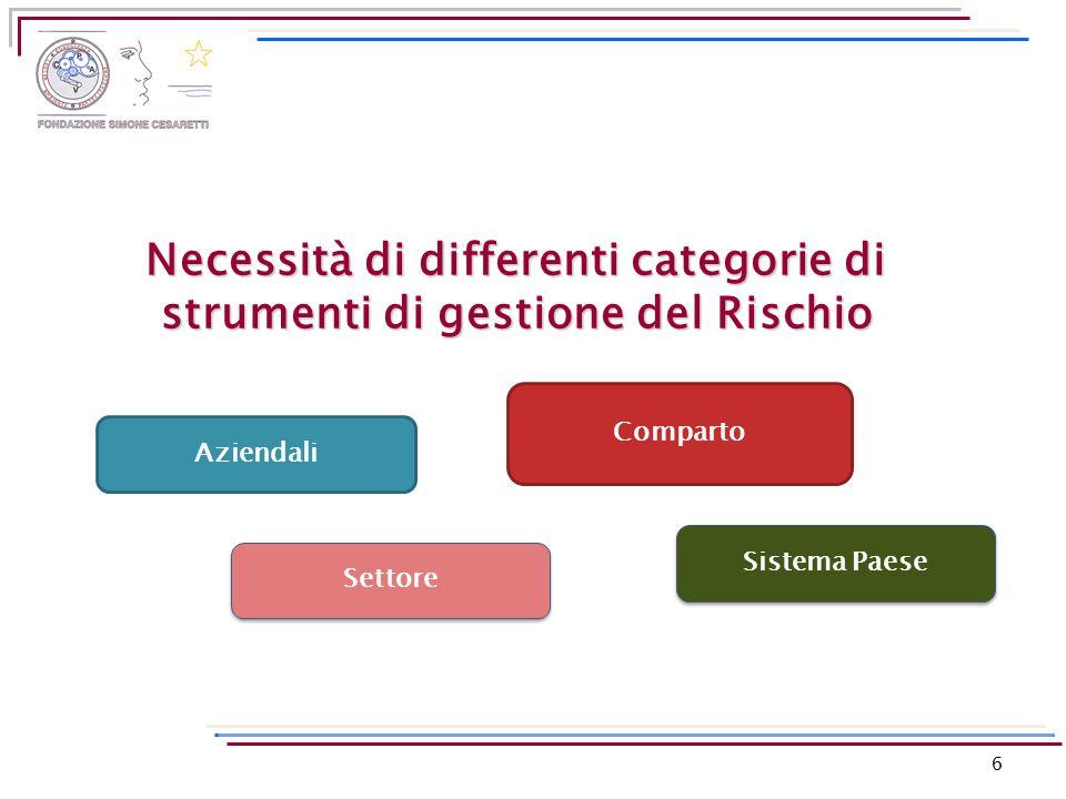 6 Necessità di differenti categorie di strumenti di gestione del Rischio Aziendali Comparto Settore Sistema Paese