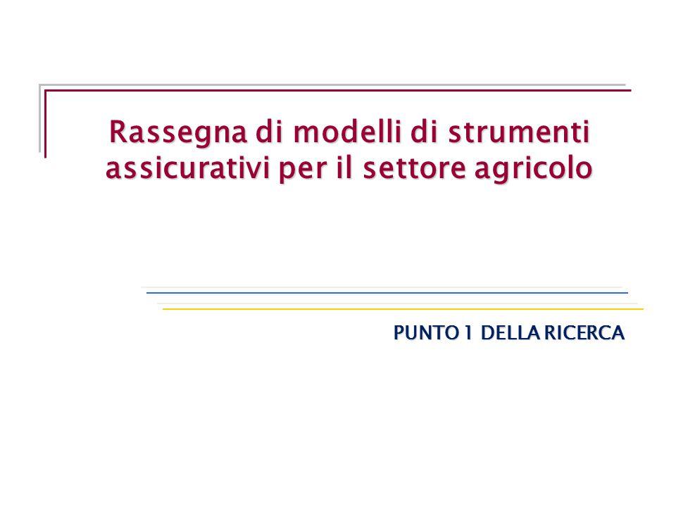 Rassegna di modelli di strumenti assicurativi per il settore agricolo PUNTO 1 DELLA RICERCA