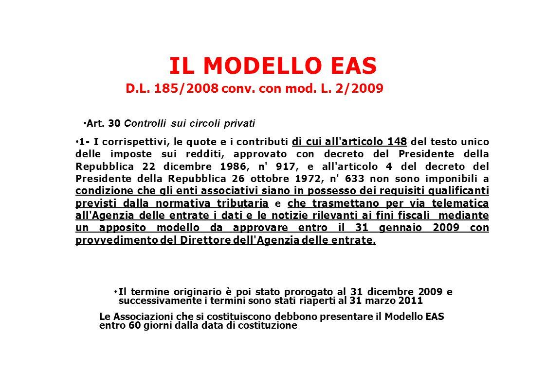 IL MODELLO EAS D.L. 185/2008 conv. con mod. L. 2/2009 Art. 30 Controlli sui circoli privati 1- I corrispettivi, le quote e i contributi di cui all'art
