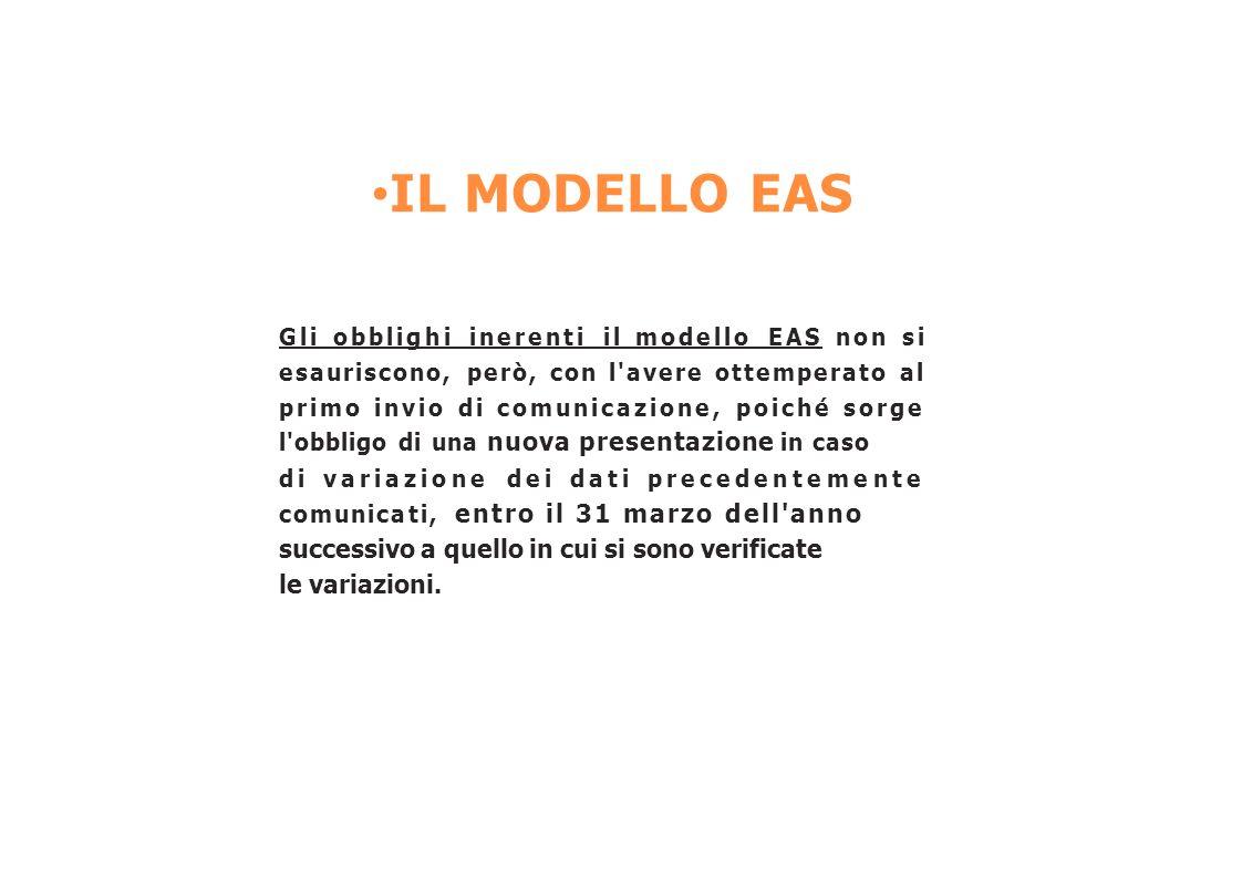IL MODELLO EAS Gli obblighi inerenti il modello EAS non si esauriscono, però, con l'avere ottemperato al primo invio di comunicazione, poiché sorge l'