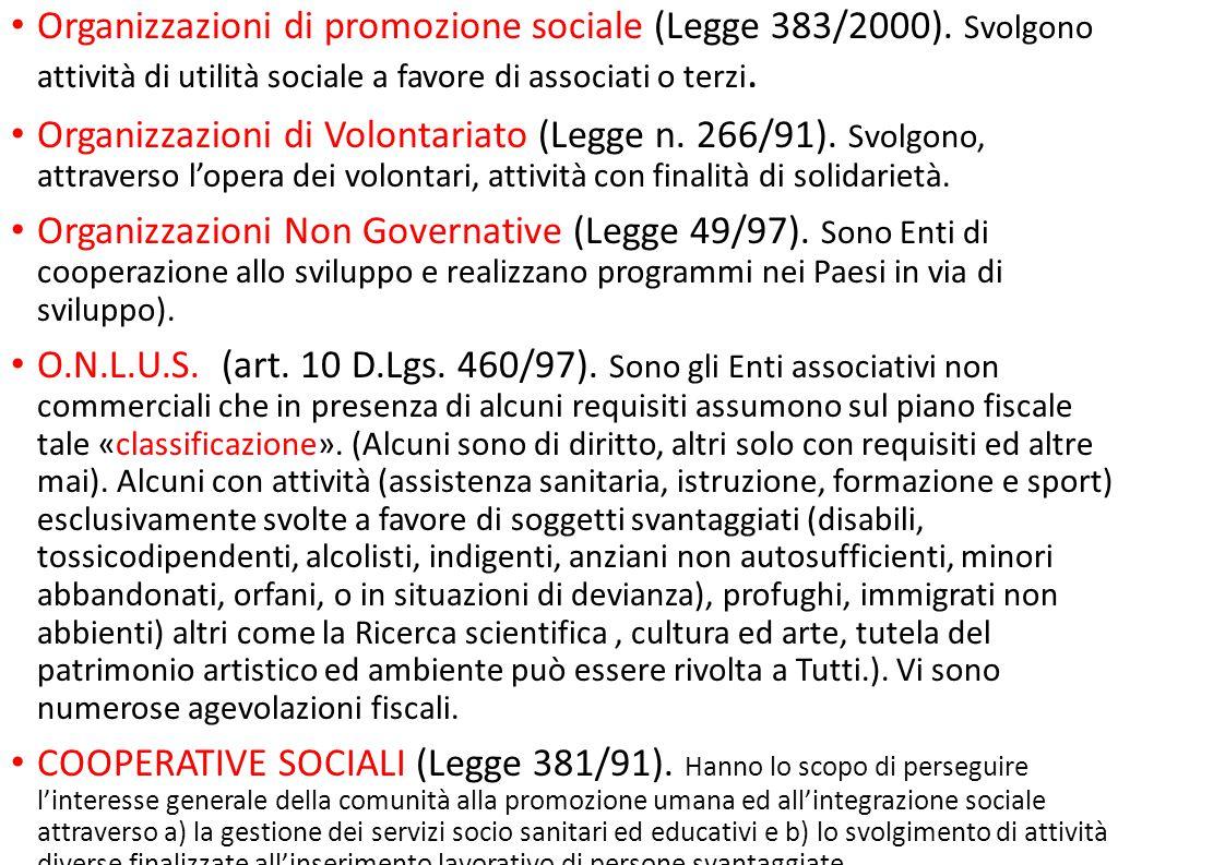 Organizzazioni di promozione sociale (Legge 383/2000). Svolgono attività di utilità sociale a favore di associati o terzi. Organizzazioni di Volontari