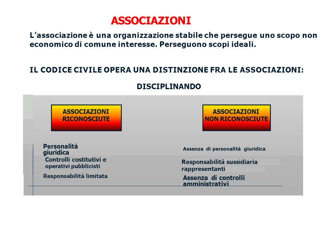 Responsabilità limitata ASSOCIAZIONI L'associazione è una organizzazione stabile che persegue uno scopo non economico di comune interesse. Perseguono