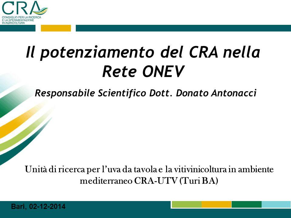 2 Il Consiglio per la Ricerca e la Sperimentazione in Agricoltura (CRA), capofila della Rete TEGUVA, con le diverse unità distribuite in Puglia (CRA‐UTV), Sicilia (CRA‐SFM) e Campania (CRA-CAT), si pone come obiettivo principale lo studio, caratterizzazione, valorizzazione e miglioramento di importanti colture dell'area mediterranea (soprattutto Uva da Tavola e Vitivinicoltura, ma anche Orticoltura e Piante officinali) con particolare attenzione agli aspetti qualitativi, proprietà nutraceutiche e alle caratteristiche più ricercate dal consumatore e dai mercati nazionali e internazionali.