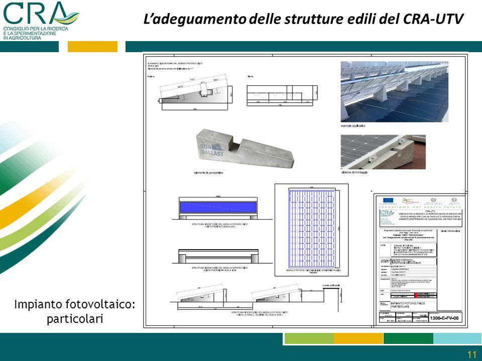 11 L'adeguamento delle strutture edili del CRA-UTV Impianto fotovoltaico: particolari