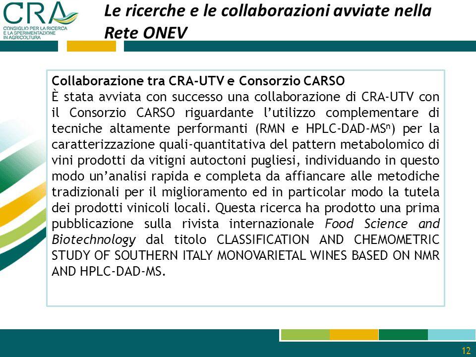 12 Le ricerche e le collaborazioni avviate nella Rete ONEV Collaborazione tra CRA-UTV e Consorzio CARSO È stata avviata con successo una collaborazion