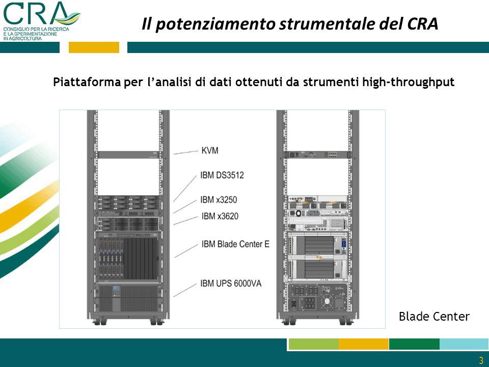 3 Blade Center Piattaforma per l'analisi di dati ottenuti da strumenti high-throughput Il potenziamento strumentale del CRA