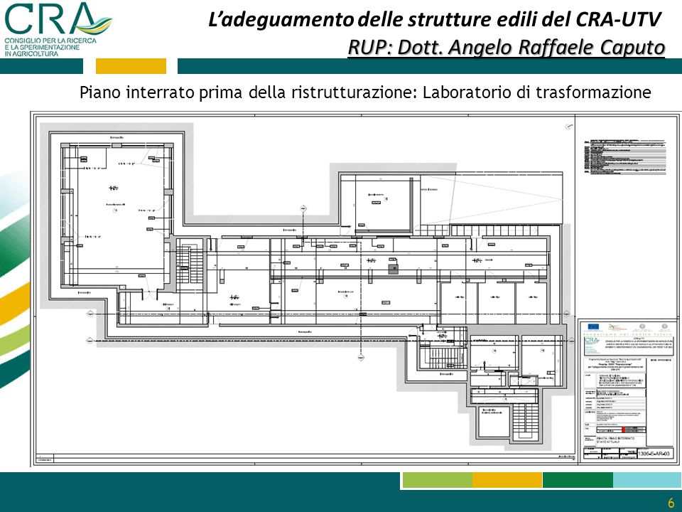 6 L'adeguamento delle strutture edili del CRA-UTV RUP: Dott. Angelo Raffaele Caputo Piano interrato prima della ristrutturazione: Laboratorio di trasf