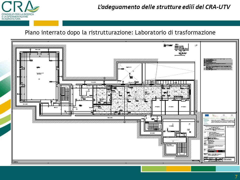 8 L'adeguamento delle strutture edili del CRA-UTV Pianta del piano terra prima della ristrutturazione dei laboratori di agronomia, di metabolomica e di genomica