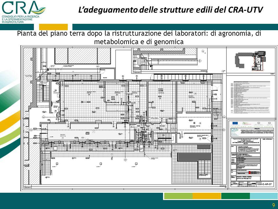 9 L'adeguamento delle strutture edili del CRA-UTV Pianta del piano terra dopo la ristrutturazione dei laboratori: di agronomia, di metabolomica e di g