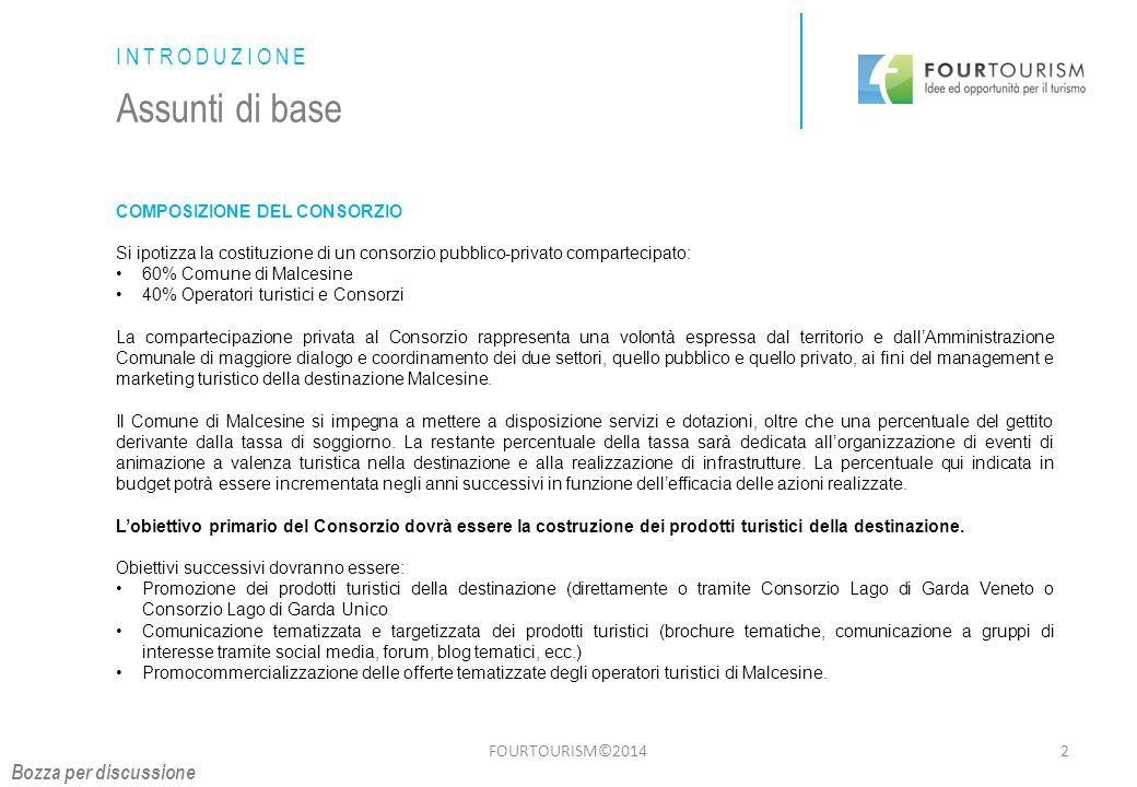 FOURTOURISM©20143 INTRODUZIONE Assunti di base PIANO OPERATIVO 2015 DEL CONSORZIO Partecipazione alle fiere su rappresentanza del Consorzio Lago di Garda Veneto (valutare se possibile presenza di un sales del Consorzio Malcesine).