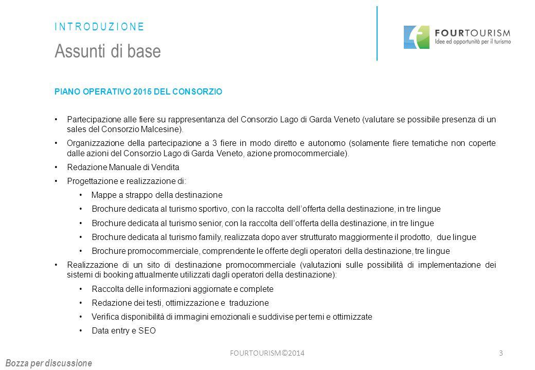 FOURTOURISM©20144 INTRODUZIONE Assunti di base PIANO OPERATIVO 2015 DEL CONSORZIO Azioni di comunicazione sui media su rappresentanza del Consorzio Lago di Garda Veneto.
