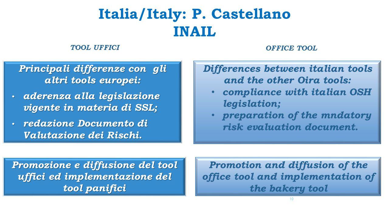Principali differenze con gli altri tools europei: aderenza alla legislazione vigente in materia di SSL; aderenza alla legislazione vigente in materia di SSL; redazione Documento di Valutazione dei Rischi.