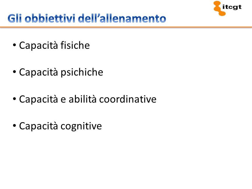 Capacità fisiche Capacità psichiche Capacità e abilità coordinative Capacità cognitive
