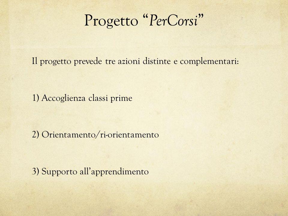 """Progetto """" PerCorsi """" Il progetto prevede tre azioni distinte e complementari: 1) Accoglienza classi prime 2) Orientamento/ri-orientamento 3) Supporto"""