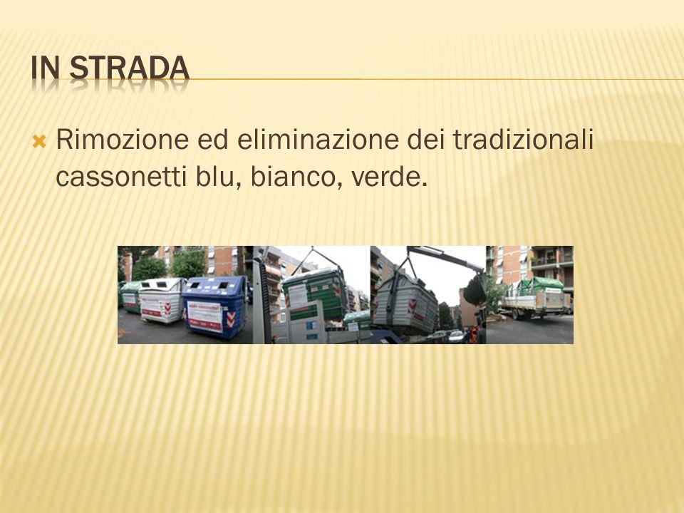  Rimozione ed eliminazione dei tradizionali cassonetti blu, bianco, verde.