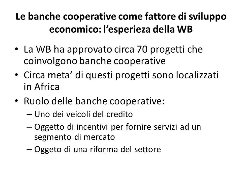 Le banche cooperative come fattore di sviluppo economico: l'esperieza della WB La WB ha approvato circa 70 progetti che coinvolgono banche cooperative