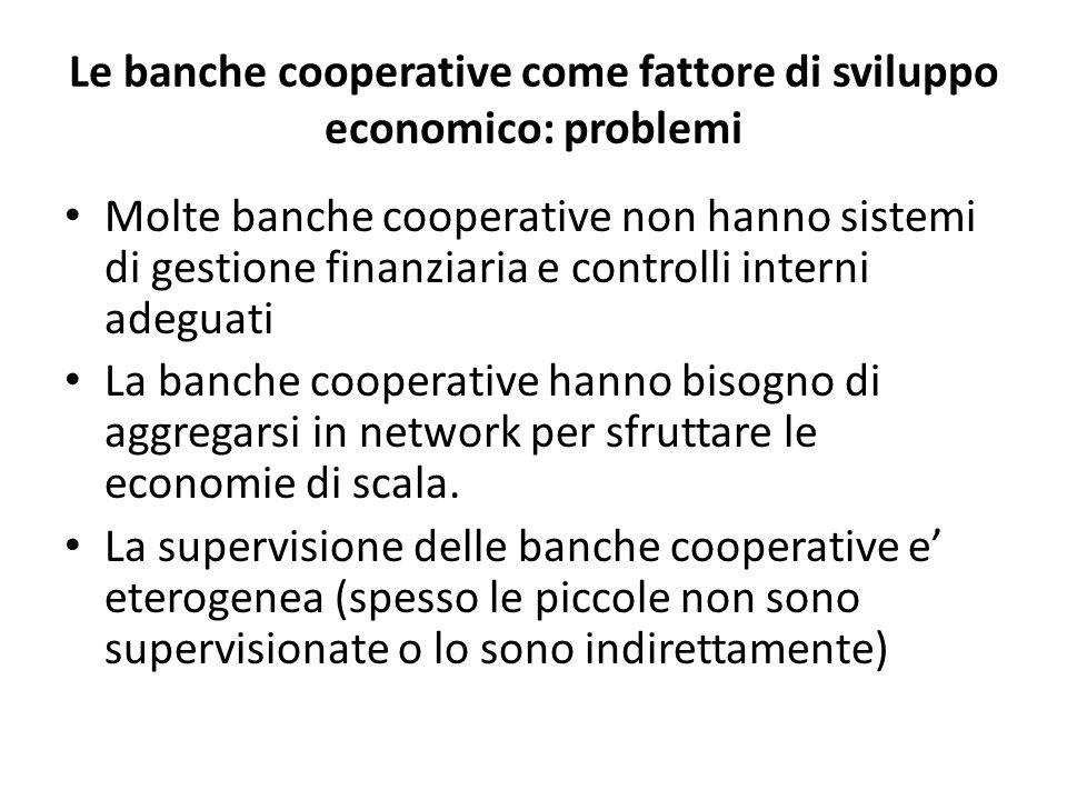 Le banche cooperative come fattore di sviluppo economico: problemi Molte banche cooperative non hanno sistemi di gestione finanziaria e controlli inte