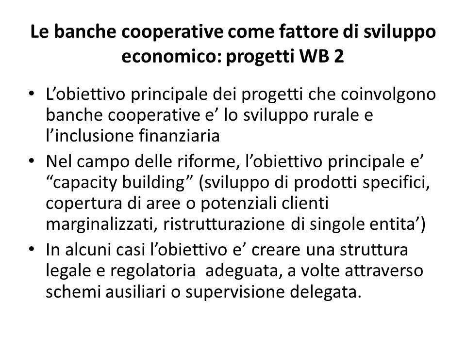 Le banche cooperative come fattore di sviluppo economico: progetti WB 2 L'obiettivo principale dei progetti che coinvolgono banche cooperative e' lo s
