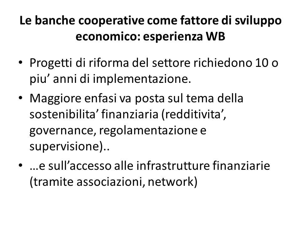 Le banche cooperative come fattore di sviluppo economico: esperienza WB Progetti di riforma del settore richiedono 10 o piu' anni di implementazione.