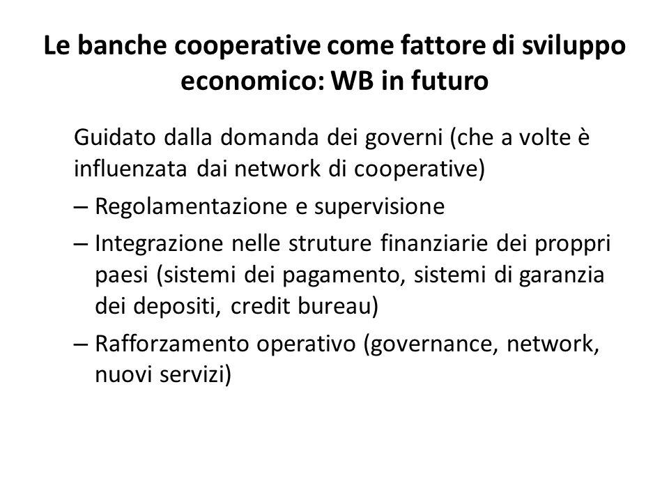 Le banche cooperative come fattore di sviluppo economico: WB in futuro Guidato dalla domanda dei governi (che a volte è influenzata dai network di coo