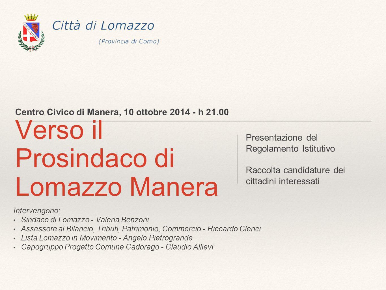 Centro Civico di Manera, 10 ottobre 2014 - h 21.00 Verso il Prosindaco di Lomazzo Manera Presentazione del Regolamento Istitutivo Raccolta candidature