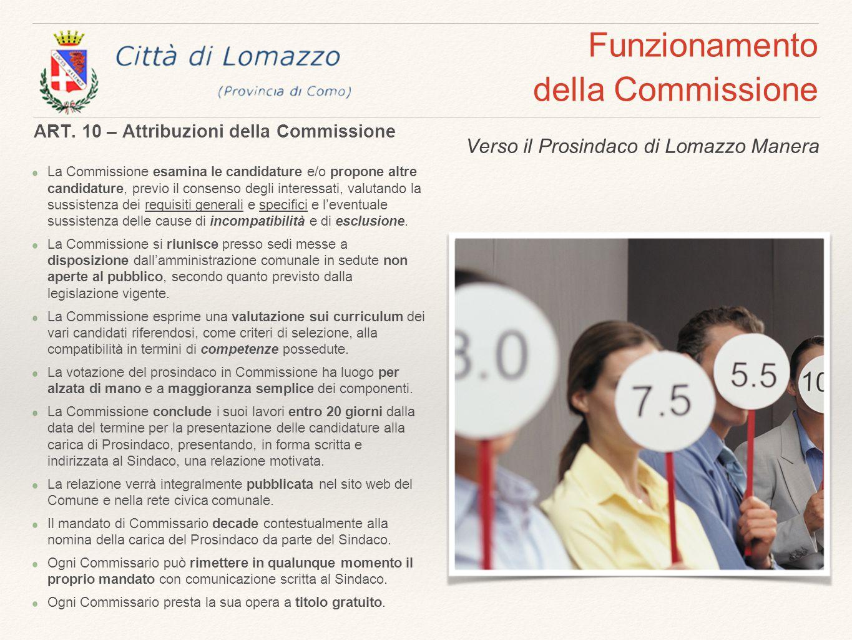 Funzionamento della Commissione La Commissione esamina le candidature e/o propone altre candidature, previo il consenso degli interessati, valutando la sussistenza dei requisiti generali e specifici e l'eventuale sussistenza delle cause di incompatibilità e di esclusione.
