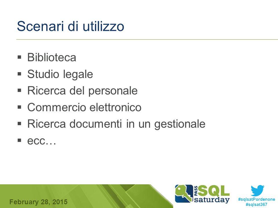 #sqlsatPordenone #sqlsat367 February 28, 2015 Scenari di utilizzo  Biblioteca  Studio legale  Ricerca del personale  Commercio elettronico  Ricerca documenti in un gestionale  ecc…
