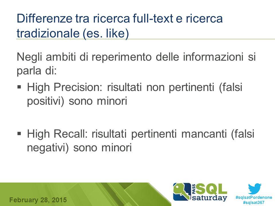 #sqlsatPordenone #sqlsat367 February 28, 2015 Differenze tra ricerca full-text e ricerca tradizionale (es.