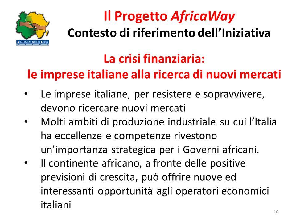 Il Progetto AfricaWay Contesto di riferimento dell'Iniziativa 10 La crisi finanziaria: le imprese italiane alla ricerca di nuovi mercati Le imprese it