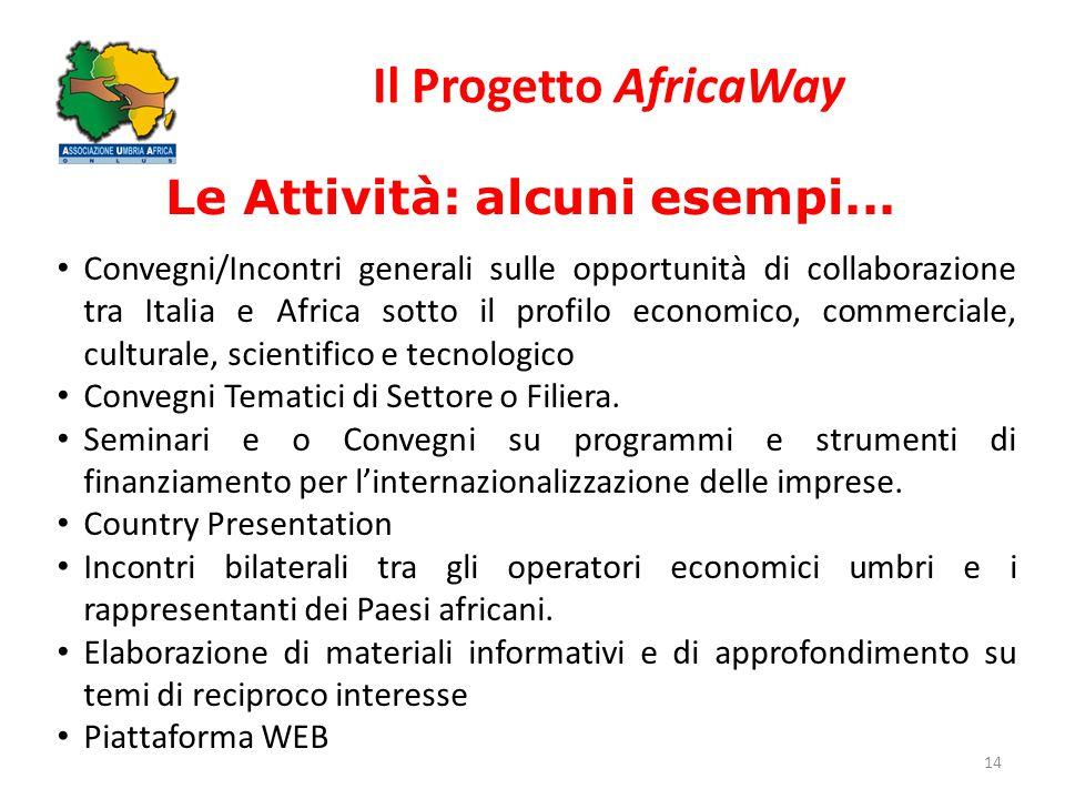 Il Progetto AfricaWay 14 Le Attività: alcuni esempi... Convegni/Incontri generali sulle opportunità di collaborazione tra Italia e Africa sotto il pro