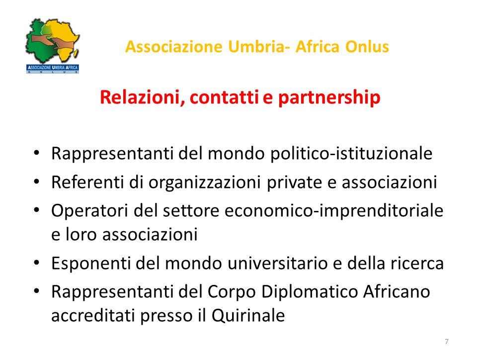 Associazione Umbria- Africa Onlus Relazioni, contatti e partnership Rappresentanti del mondo politico-istituzionale Referenti di organizzazioni privat