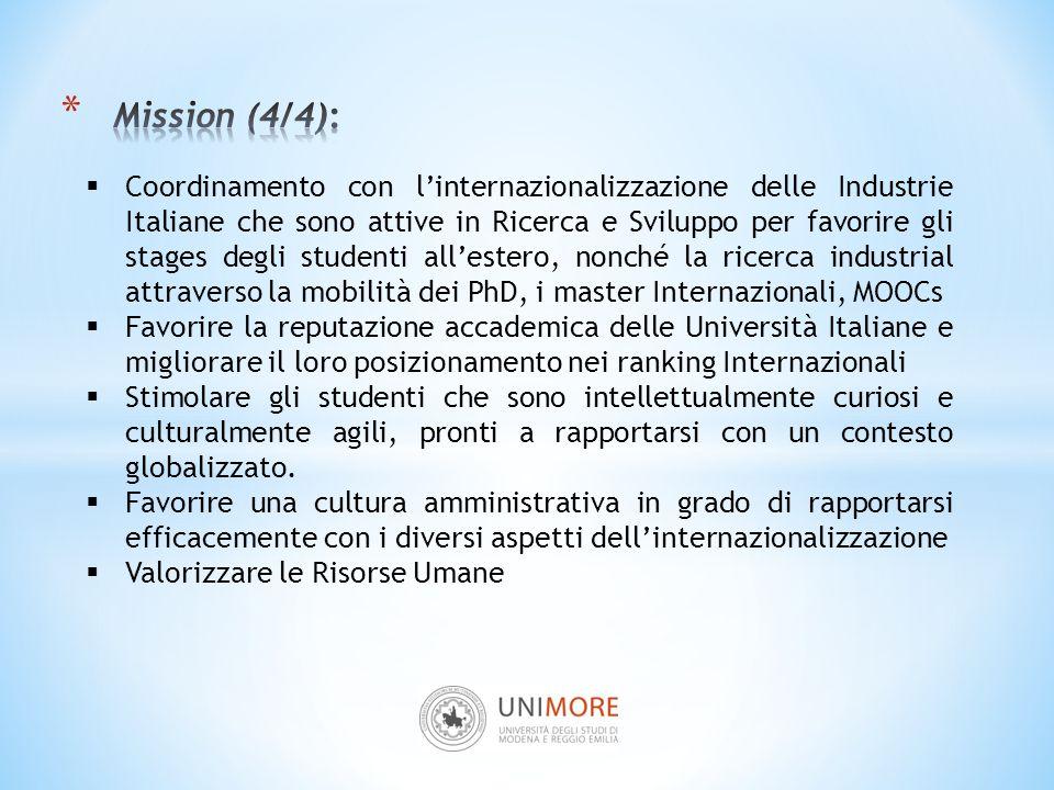 Coordinamento con l'internazionalizzazione delle Industrie Italiane che sono attive in Ricerca e Sviluppo per favorire gli stages degli studenti all