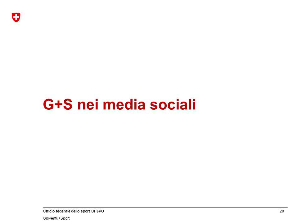 20 Ufficio federale dello sport UFSPO Gioventù+Sport G+S nei media sociali
