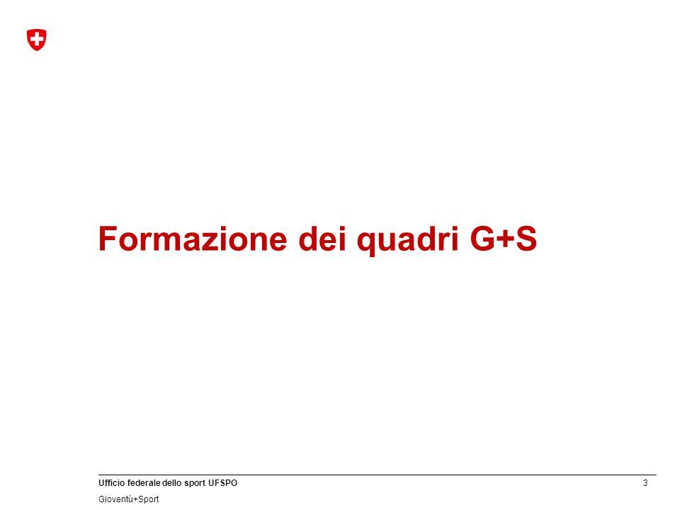 3 Ufficio federale dello sport UFSPO Gioventù+Sport Formazione dei quadri G+S