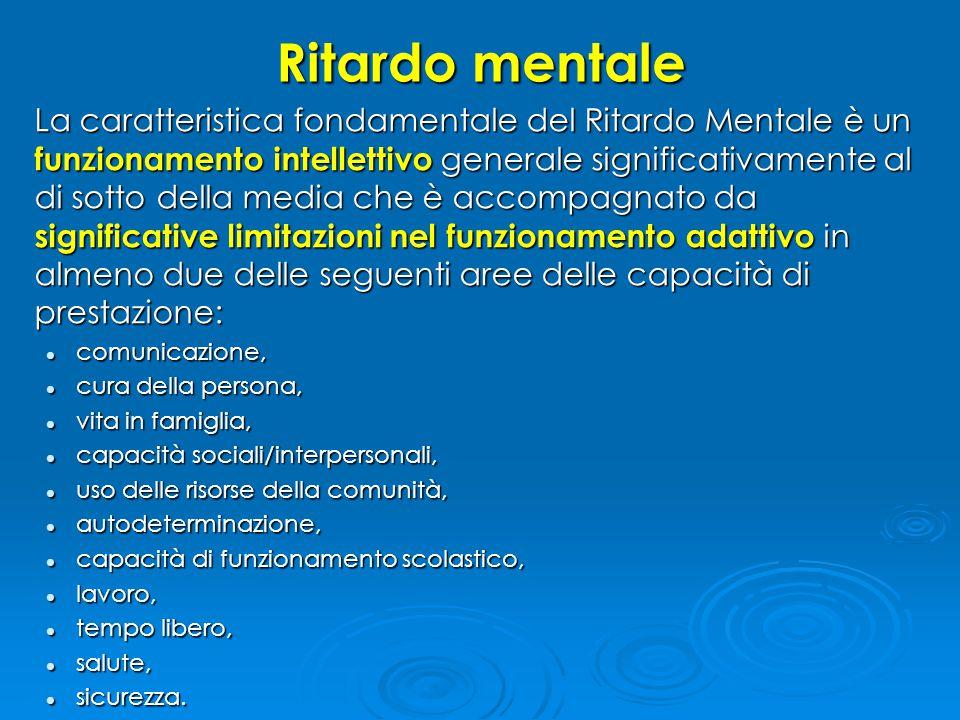 ...decorso  Il decorso del Ritardo Mentale è influenzato dal decorso delle condizioni mediche generali sottostanti e da fattori ambientali (per es., opportunità scolastiche e altre opportunità, stimolazione ambientale e adeguatezza della gestione).