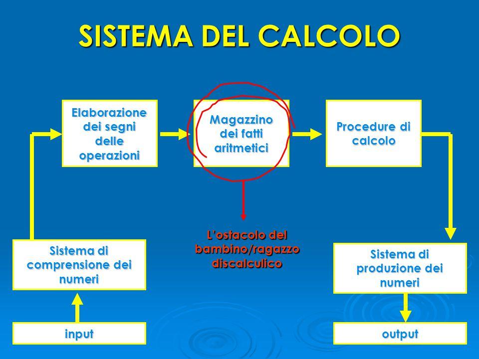 SISTEMA DEL CALCOLO Elaborazione dei segni delle operazioni Sistema di produzione dei numeri Sistema di comprensione dei numeri inputoutput Procedure