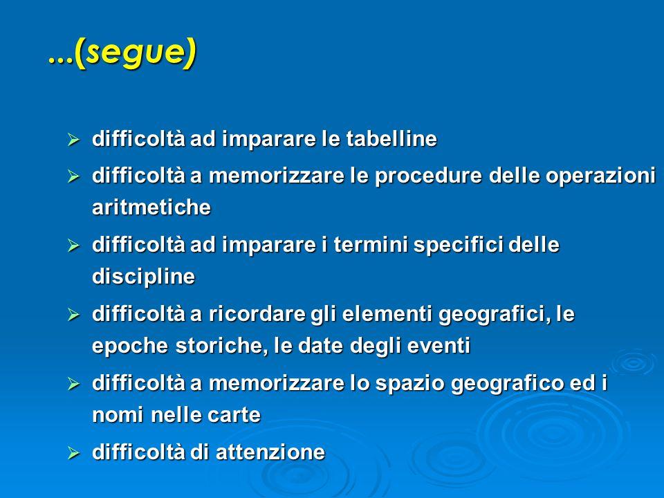  difficoltà ad imparare le tabelline  difficoltà a memorizzare le procedure delle operazioni aritmetiche  difficoltà ad imparare i termini specific