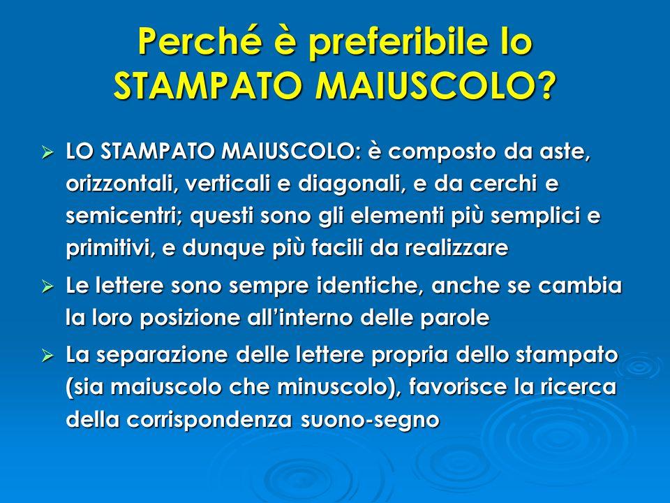 Perché è preferibile lo STAMPATO MAIUSCOLO?  LO STAMPATO MAIUSCOLO: è composto da aste, orizzontali, verticali e diagonali, e da cerchi e semicentri;