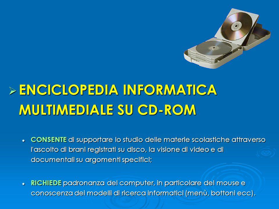  ENCICLOPEDIA INFORMATICA MULTIMEDIALE SU CD-ROM CONSENTE di supportare lo studio delle materie scolastiche attraverso l'ascolto di brani registrati
