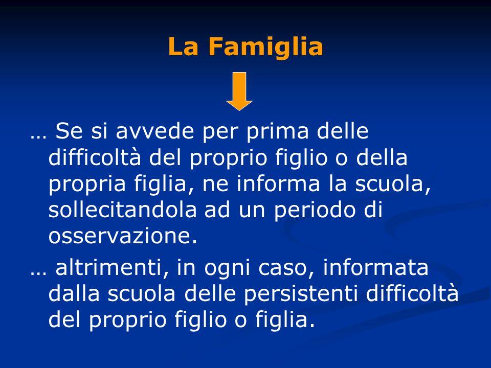 La Famiglia … Se si avvede per prima delle difficoltà del proprio figlio o della propria figlia, ne informa la scuola, sollecitandola ad un periodo di osservazione.