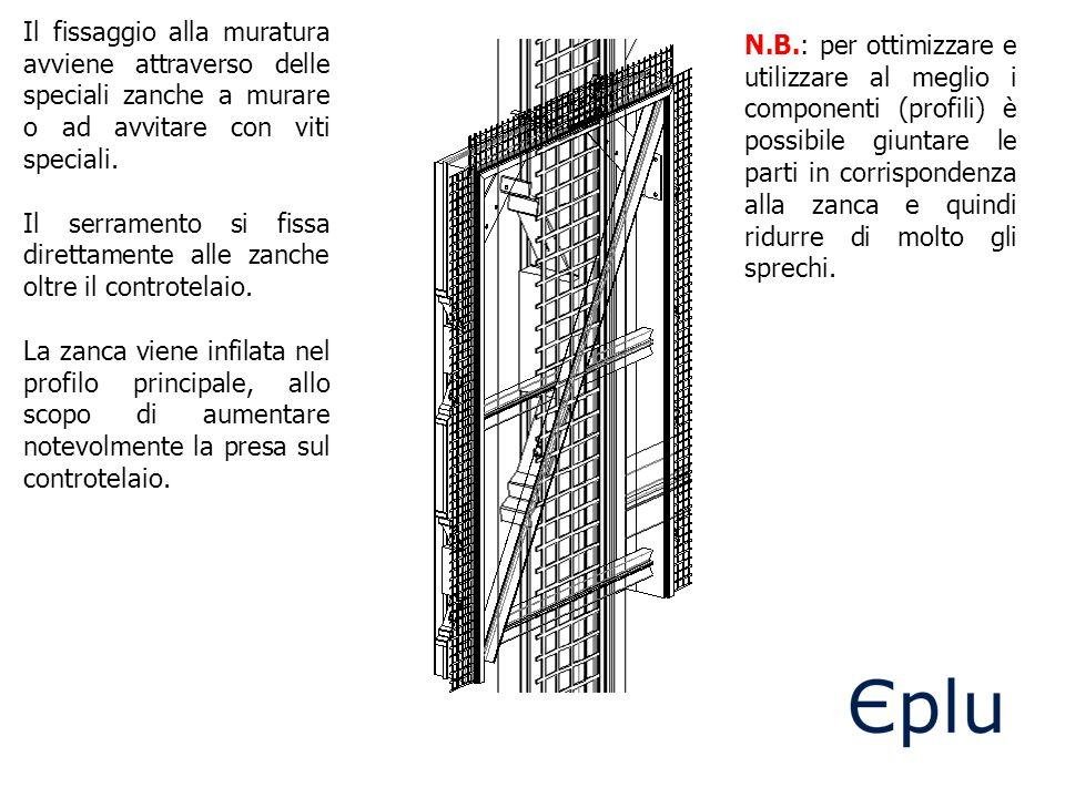 Il fissaggio alla muratura avviene attraverso delle speciali zanche a murare o ad avvitare con viti speciali. Il serramento si fissa direttamente alle