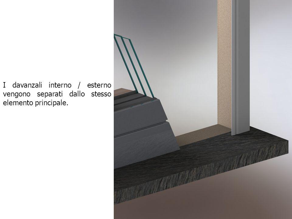I davanzali interno / esterno vengono separati dallo stesso elemento principale.