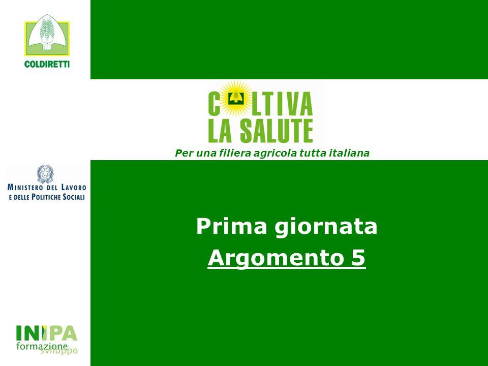 COLTIVA LA SALUTE Prima giornata Argomento 5 Per una filiera agricola tutta italiana