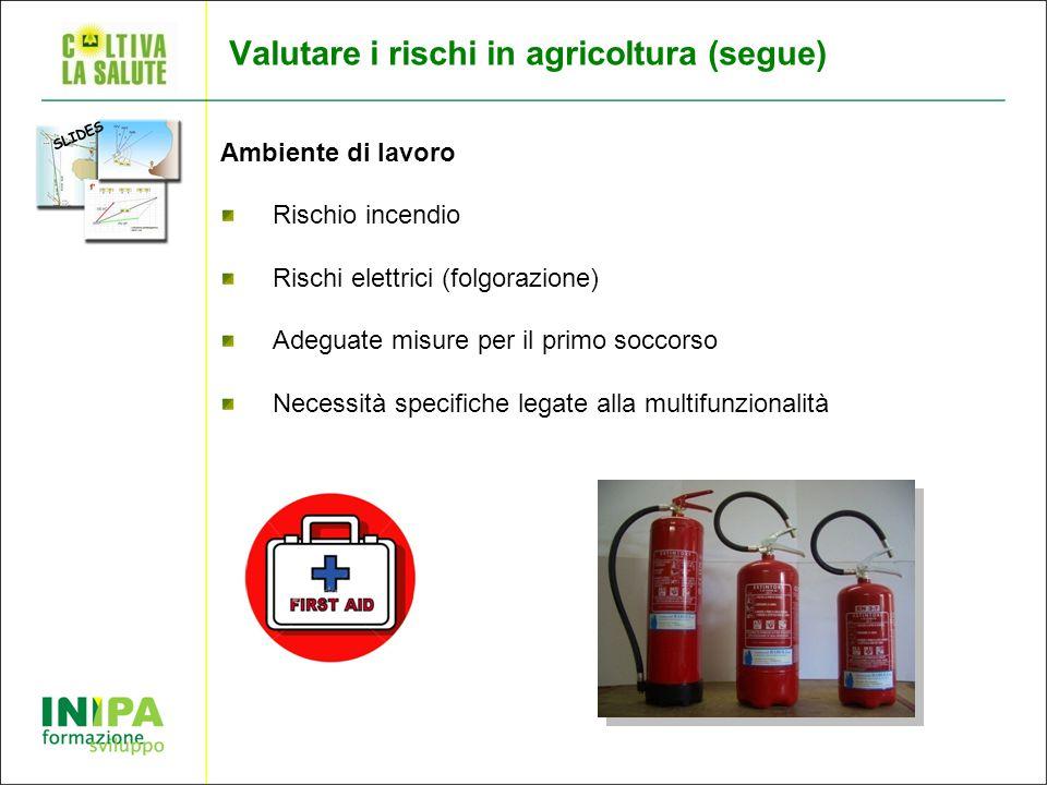 Valutare i rischi in agricoltura (segue) Ambiente di lavoro Rischio incendio Rischi elettrici (folgorazione) Adeguate misure per il primo soccorso Necessità specifiche legate alla multifunzionalità SLIDES
