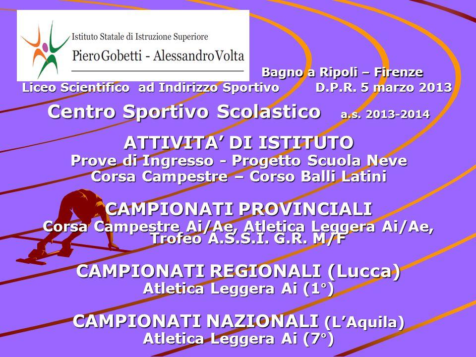 Centro Sportivo Scolastico a.s. 2013-2014 ATTIVITA' DI ISTITUTO Prove di Ingresso - Progetto Scuola Neve Corsa Campestre – Corso Balli Latini CAMPIONA