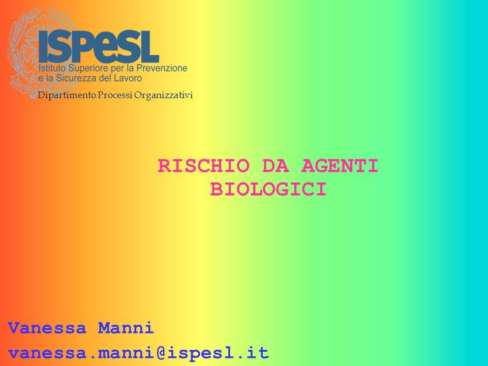 Dipartimento Processi Organizzativi RISCHIO DA AGENTI BIOLOGICI Vanessa Manni vanessa.manni@ispesl.it