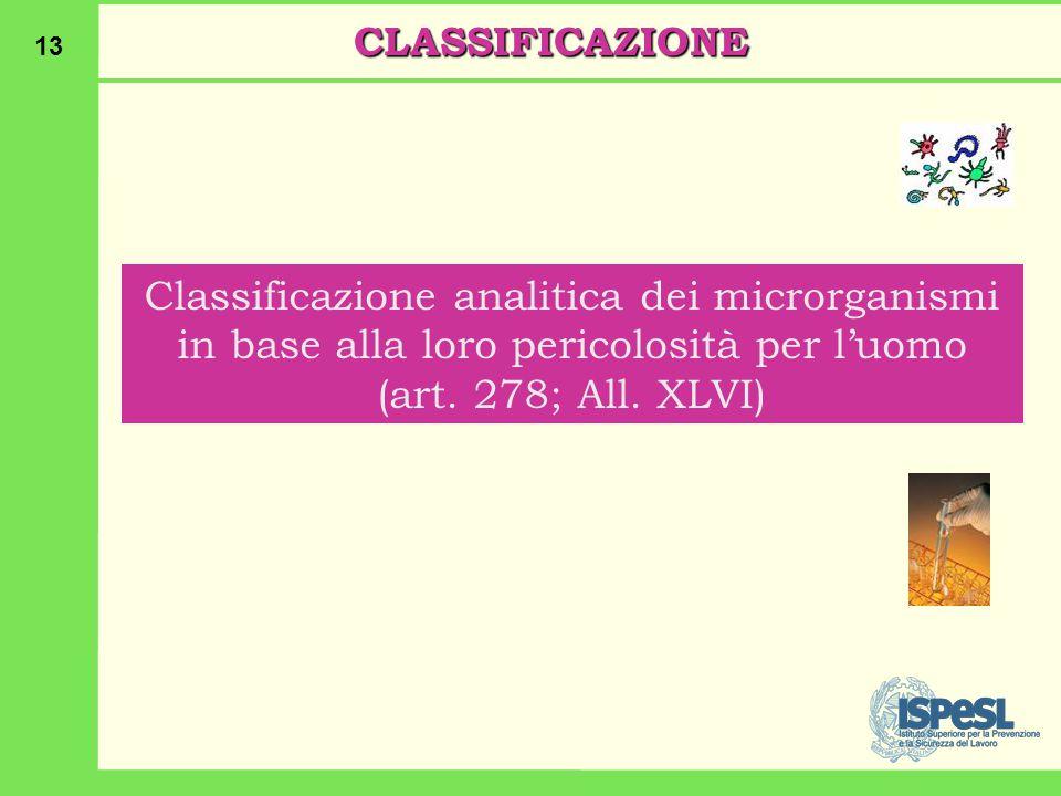 13 CLASSIFICAZIONE Classificazione analitica dei microrganismi in base alla loro pericolosità per l'uomo (art.