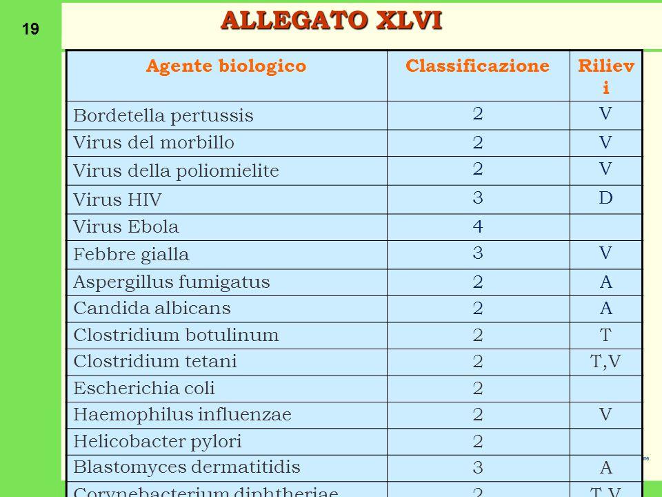 19 Agente biologicoClassificazioneRiliev i Bordetella pertussis 2V Virus del morbillo2V Virus della poliomielite 2V Virus HIV 3D Virus Ebola4 Febbre gialla 3V Aspergillus fumigatus2A Candida albicans2A Clostridium botulinum2T Clostridium tetani2T,V Escherichia coli2 Haemophilus influenzae2V Helicobacter pylori2 Blastomyces dermatitidis 3A Corynebacterium diphtheriae2T,V ALLEGATO XLVI