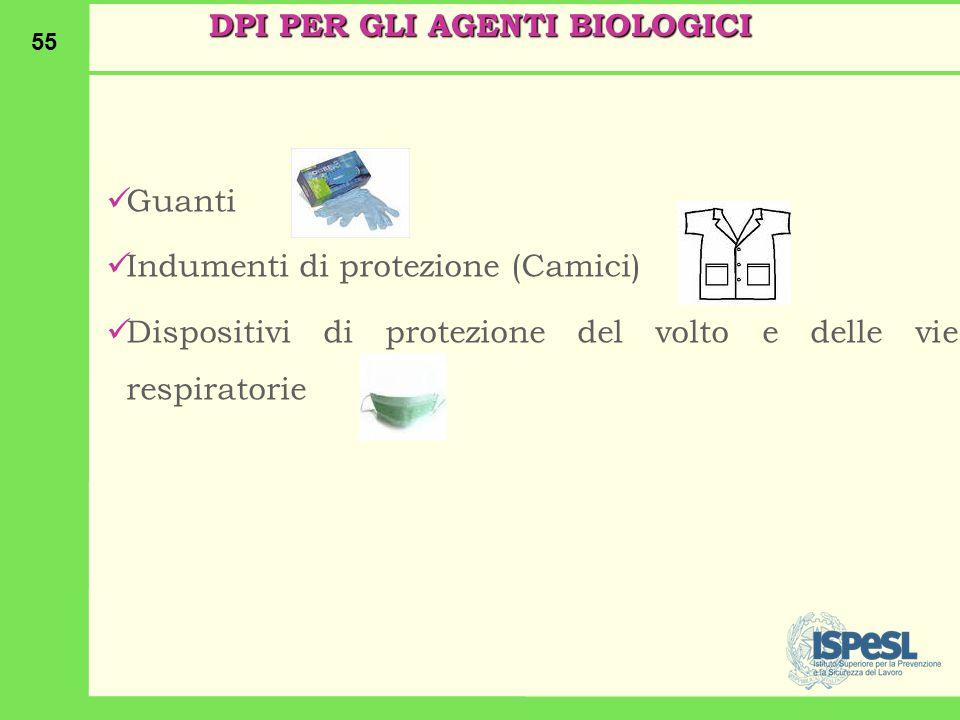 55 Guanti Indumenti di protezione (Camici) Dispositivi di protezione del volto e delle vie respiratorie DPI PER GLI AGENTI BIOLOGICI